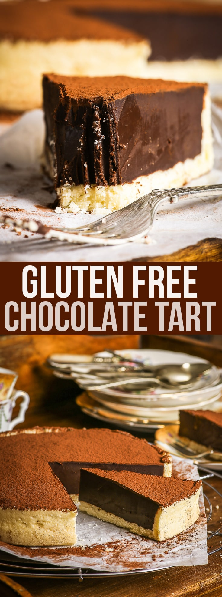 Ridiculously Decadent Gluten Free Chocolate Tart - This decadent gluten free chocolate tart just might be one of the best gluten free desserts you'll ever try. With a sweet, buttery gluten free shortcrust pastry, and a rich dark chocolate ganache filling, this gluten free tart is what chocolate lovers' dreams are made of. Gluten free recipe. Gluten free dessert. Chocolate dessert. #glutenfree #chocolate #tart #recipe #dessert