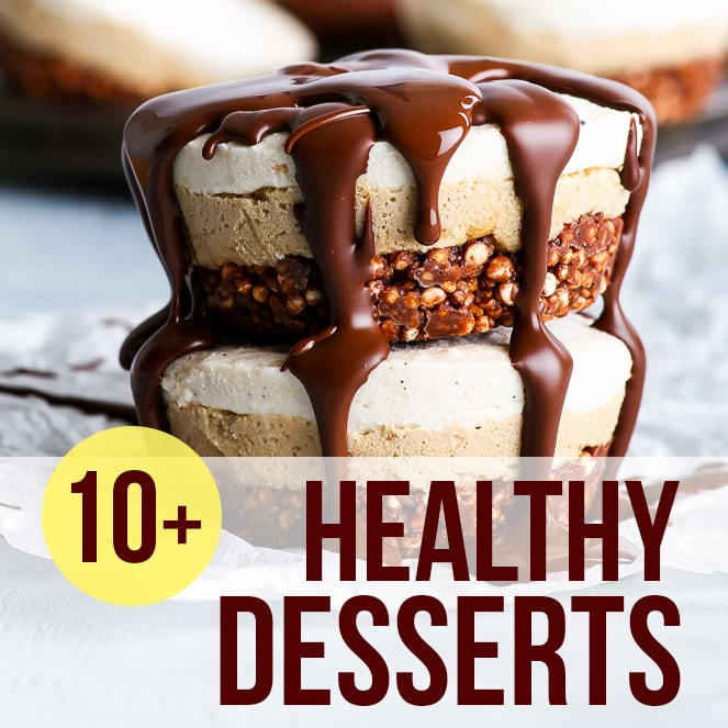 "A picture of healthy raw vegan tiramisu bites, with the text ""10+ healthy desserts"" as an overlay on the picture."