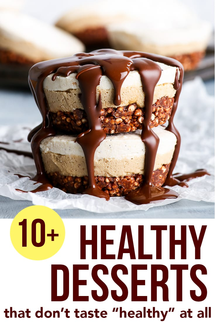 "10+ Healthy Desserts That Don't Taste ""Healthy"" At All - A collection of absolutely amazing healthy desserts: for when the sugar craving strikes, but you still want to stay on the healthy eating side. From raw vegan desserts to a paleo chocolate cake, from gluten free brownies to dairy free mousse cakes. Healthy dessert recipes loved by hundreds! Healthy recipes. Healthy food. Easy desserts. #healthyrecipes #healthyeating #healthyfood #dessert #recipe"