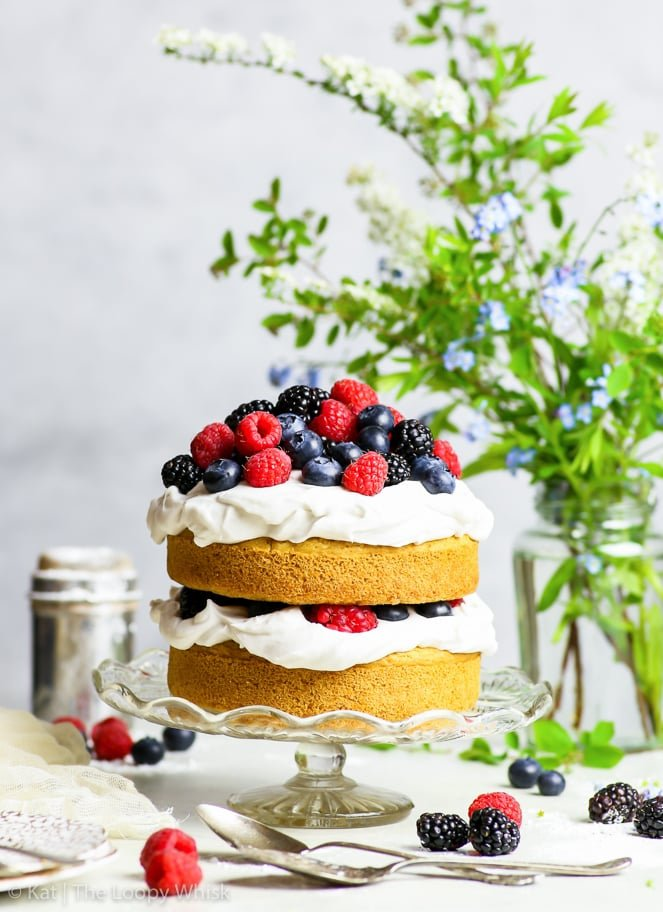 Admirable Gluten Free Vegan Vanilla Cake With Summer Berries The Loopy Whisk Personalised Birthday Cards Cominlily Jamesorg