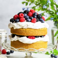 Gluten Free Vegan Vanilla Cake with Summer Berries {gluten, dairy, egg, nut & soy free, vegan} - This gluten free vegan vanilla cake recipe is THE recipe to have on hand if you have any kind of food allergy, or if you follow a vegan lifestyle. With a fluffy, moist sponge cake (no egg substitutes!) and a delicious coconut cream frosting, this recipe is both quick and easy! Gluten free dessert. Dairy free dessert. Vegan dessert. #vegan #glutenfree #dairyfree #dessert #vanilla #cake #food #recipe