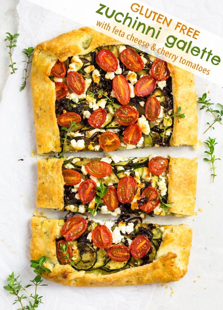 Gluten Free Zucchini Galette with Feta Cheese & Cherry Tomatoes - This gluten free zucchini galette is almost too good for words. The rosemary pie crust is pure flaky, buttery perfection, and the filling of zucchinis, cherry tomatoes, caramelised onions, feta cheese and herbs is an homage to all things Mediterranean. Super easy to make, the perfect thing for a weekend brunch or summer picnic. Gluten free pie crust. Crostata recipe. Easy lunch idea. #glutenfree #pie #food #recipe #galette #lunch