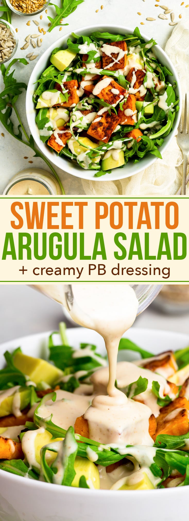 """15-Minute Sweet Potato & Arugula Salad with Avocados + Creamy Peanut Butter Dressing - This sweet potato & arugula salad is the perfect quick and healthy mid-week lunch, that you can prepare in just 15 minutes! With a hack to make the most amazing """"roasted"""" sweet potatoes (in only 10 minutes) and with the creamiest 4-ingredient peanut butter dressing. Gluten free recipe. Healthy recipe. Salad recipe. Salad dressing recipes. Vegan lunch. Easy salad recipe. #healthyrecipes #healthyeating #salad"""