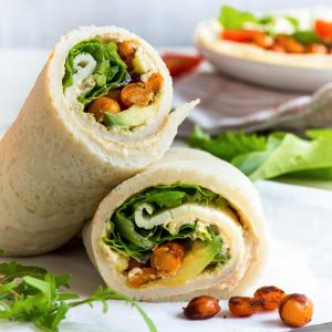 10-Minute Gluten Free Veggie Wrap {gluten, dairy, nut, soy & refined sugar free} - This gluten free veggie wrap makes the perfect healthy breakfast, lunch or dinner. It only takes 10 minutes to prepare, and it honestly couldn't be easier to make. Filled with hummus, salad leaves, cherry tomatoes, avocado and pan-roasted spicy chickpeas. Healthy lunch recipe. Vegetarian wrap. Gluten free wrap. Healthy dinner ideas. Quick and easy recipes. #glutenfree #dairyfree #healthyrecipe #quickrecipe #food