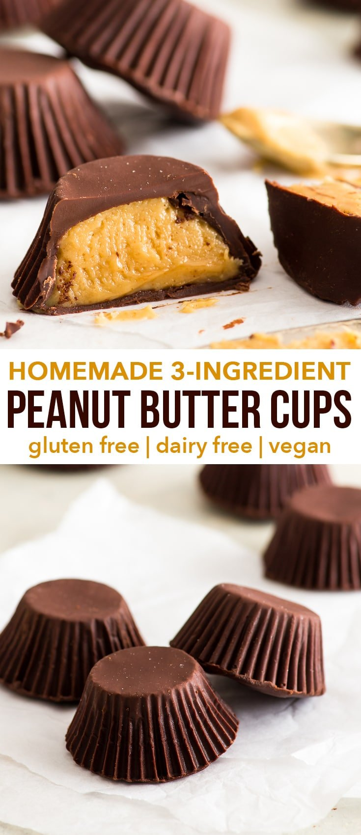 3-Ingredient Homemade Peanut Butter Cups {gluten, dairy, egg & soy free, vegan} - These homemade peanut butter cups are a brilliant, healthier alternative to everyone's favourite store-bought treat – and they only contain 3 ingredients! With a delicious dark chocolate shell and a fudgy sweet-salty peanut butter filling. Gluten free dessert recipe. Easy vegan recipe. Vegan dessert. Sweet snack idea. Healthy dessert. Chocolate recipe. #peanutbutter #chocolate #vegan #glutenfree #recipe