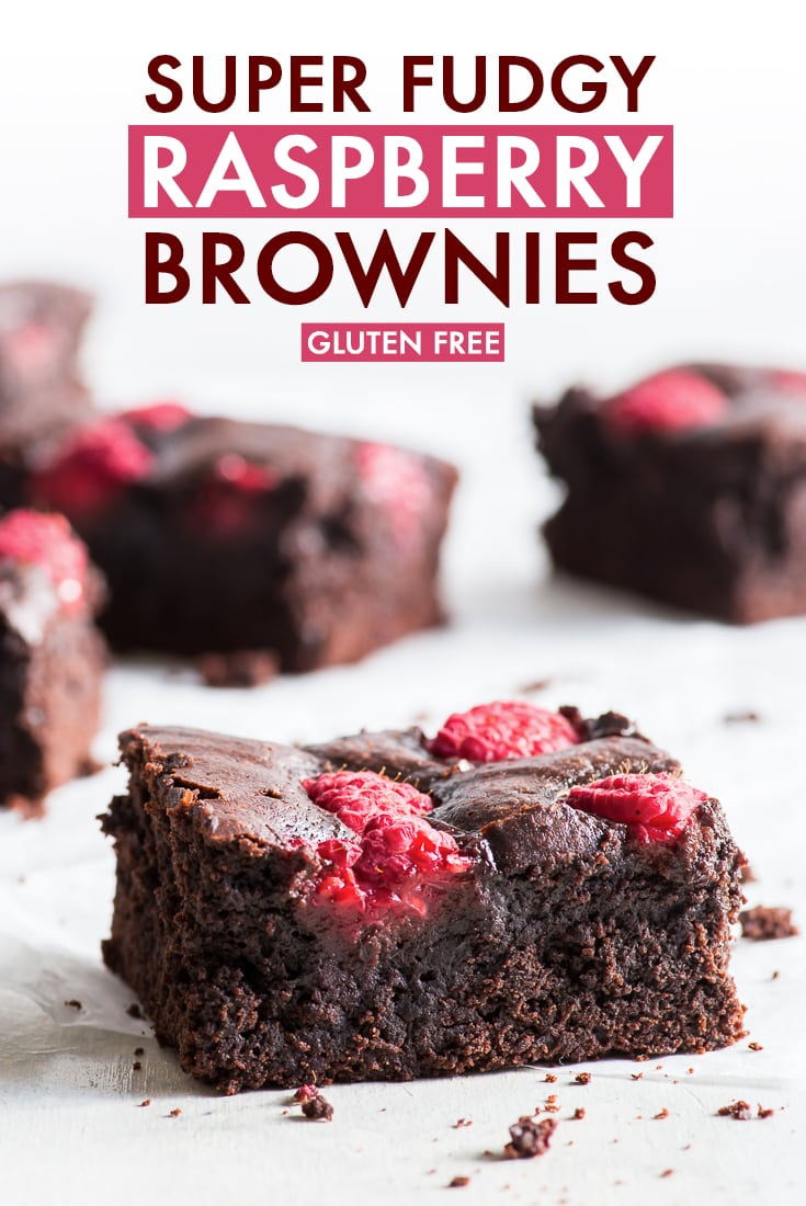 Super Fudgy Raspberry Brownies (Gluten Free) - What do you get if you pair the gooey, chocolatey deliciousness of brownies with fresh, slightly tart raspberries? The answer: these AMAZING super fudgy raspberry brownies. They're easy and quick to make, taste absolutely delicious, and are gluten free to boot! Gluten free brownies. Gluten free dessert. Easy brownie recipe. Chocolate brownies. Chocolate dessert recipe. #brownies #chocolate #raspberries #glutenfree #dessert #recipe
