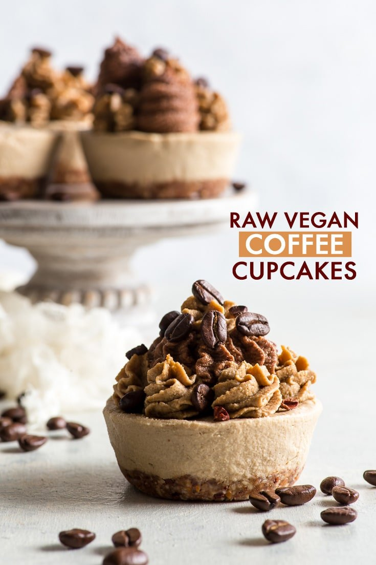 Raw Vegan Coffee Cupcakes {gluten, dairy, egg, peanut, soy & refined sugar free, vegan, paleo} - Want a healthy dessert without turning on the oven? These raw vegan coffee cupcakes are just the thing for you! With a crunchy base and a ridiculously creamy filling, they're chock-full of coffee, and quite possibly one of the prettiest desserts ever. Raw vegan desserts. Raw vegan recipes. Healthy desserts. Coffee cupcakes. Paleo desserts. #coffee #cupcakes #rawvegan #dessert #healthyrecipes