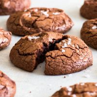 Fudgy Chocolate Brownie Cookies (Gluten Free) - Ridiculously fudgy, decadent and delicious, these chocolate brownie cookies are not only some of the best cookies out there, they are also incredibly easy to make! This recipe makes gluten free brownie cookies that have a shiny, crackly – and slightly crunchy – crust, and a wonderfully fudgy interior. Chocolate cookies. Easy cookie recipes. Cookie dough. Chocolate desserts. #brownies #cookies #easyrecipe #glutenfree #food #recipe