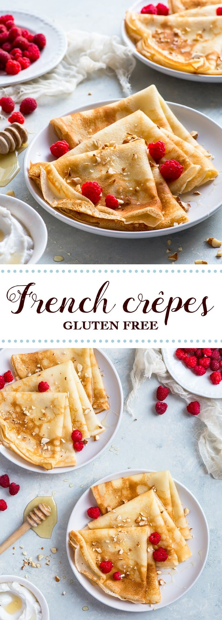 Gluten Free Crepes (French Style Gluten Free Pancakes) - Thin, delicate and perfect for filling with a multitude of toppings: these delicious gluten free crepes are easy and quick to prepare, and make an absolutely amazing breakfast treat! Gluten free dessert. Gluten free breakfast. Gluten free recipes. Pancake recipe. French crepe recipe. Breakfast ideas. Breakfast recipes. Easy breakfast recipe. Easy dessert recipe. #breakfast #pancakes #glutenfree #frenchcrepes #recipes