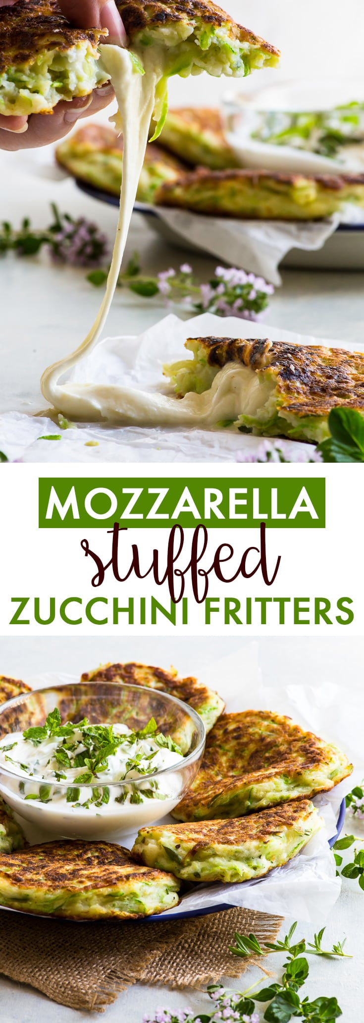 Mozzarella Stuffed Zucchini Fritters (Gluten Free) - The ultimate way to use up summer zucchini: mozzarella stuffed zucchini fritters. That's right: every zucchini fritter has a gooey melted mozzarella cheese centre, which takes this simple dish all the way to sheer perfection. Zucchini recipes. Courgette recipes. Summer lunch and dinner recipes. Cheese recipes. Cheese stuffed fritters. Gluten free recipes. #zucchini #summer #recipe #cheese #mozzarella #glutenfree #food
