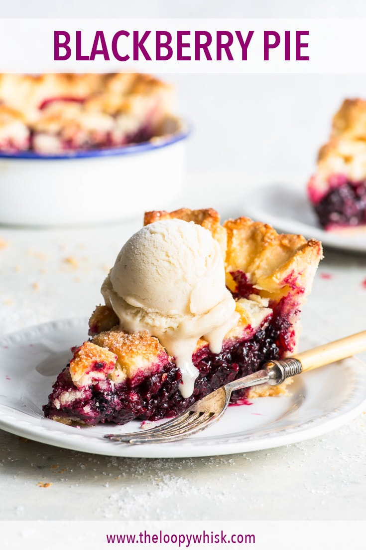 Blackberry Pie (Gluten Free) - There's nothing better than serving a slice of warm blackberry pie with a scoop of ice cream. Especially is the pie has the most perfect buttery, flaky gluten free pie crust and a juicy blackberry filling packed full of flavour. Gluten free pie recipe. Berry pie recipe. Pie lattice. Gluten free desserts. Pie crust recipe. Pie crust designs. Blackberry recipes. Easy pie recipe. Vegetarian pie. Fruit pie. #blackberries #pie #glutenfree #recipe #dessert