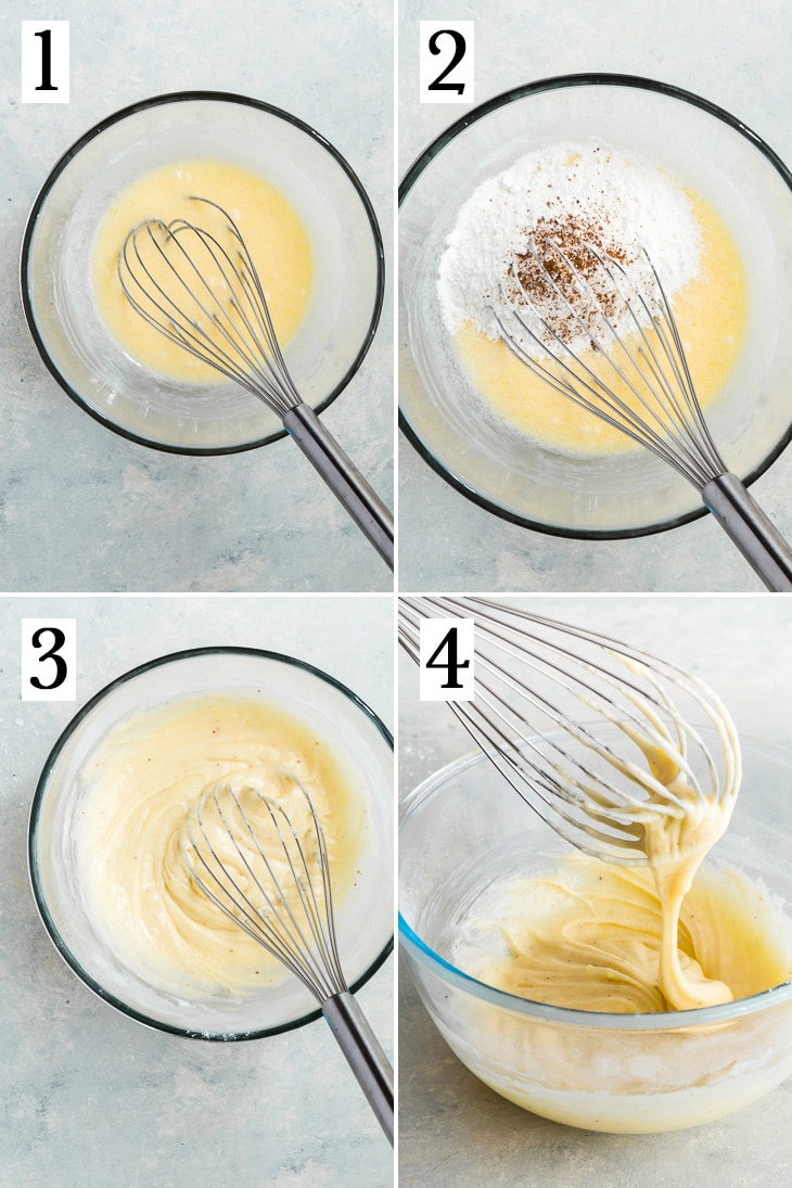 The step-by-step process of making the cake donut batter.