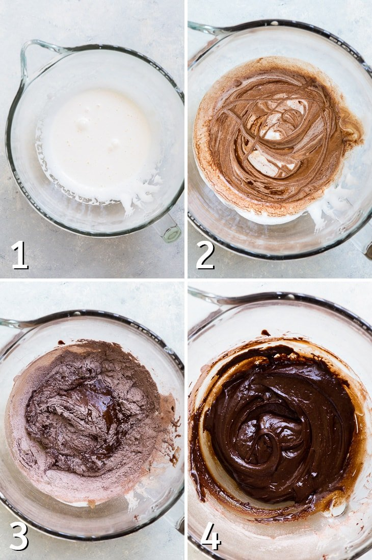 Four step process of making brownie cookie batter.
