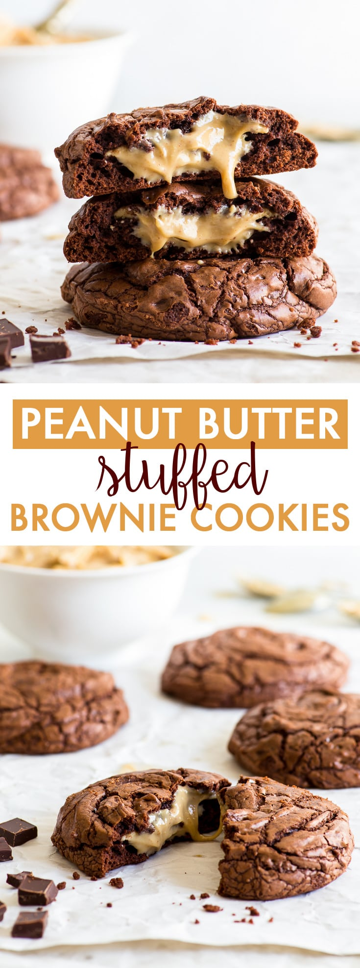 Peanut Butter Stuffed Brownie Cookies (Gluten Free) - These peanut butter stuffed brownie cookies will blow your mind. With a crackly crust, a fudgy chocolatey interior and the most drool-worthy gooey peanut butter centre, these cookies are dangerously delicious and easy to make! Gluten free cookies. Chocolate cookies. Peanut butter cookies. Brookies. Easy cookie recipes. Chocolate dessert recipes. Peanut butter dessert. #brownies #cookies #chocolate #peanutbutter #glutenfree #dessert #recipe