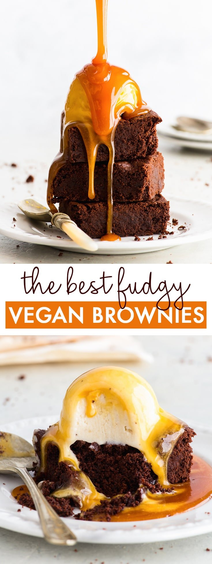 The Best Vegan Chocolate Brownies. Ever. - These vegan chocolate brownies will blow your mind. Decadent, fudgy and with an intense chocolate flavour, they are everything you'd want a brownie to be. Perfect with a scoop of vegan ice cream and smothered in a vegan salted caramel sauce. Fudgy brownies recipe. Easy brownie recipe. Caramel brownies. Vegan brownie recipe. Vegan desserts. Chocolate dessert recipes. Vegan recipes. Dairy free desserts. #brownies #vegan #dairyfree #chocolate #dessert