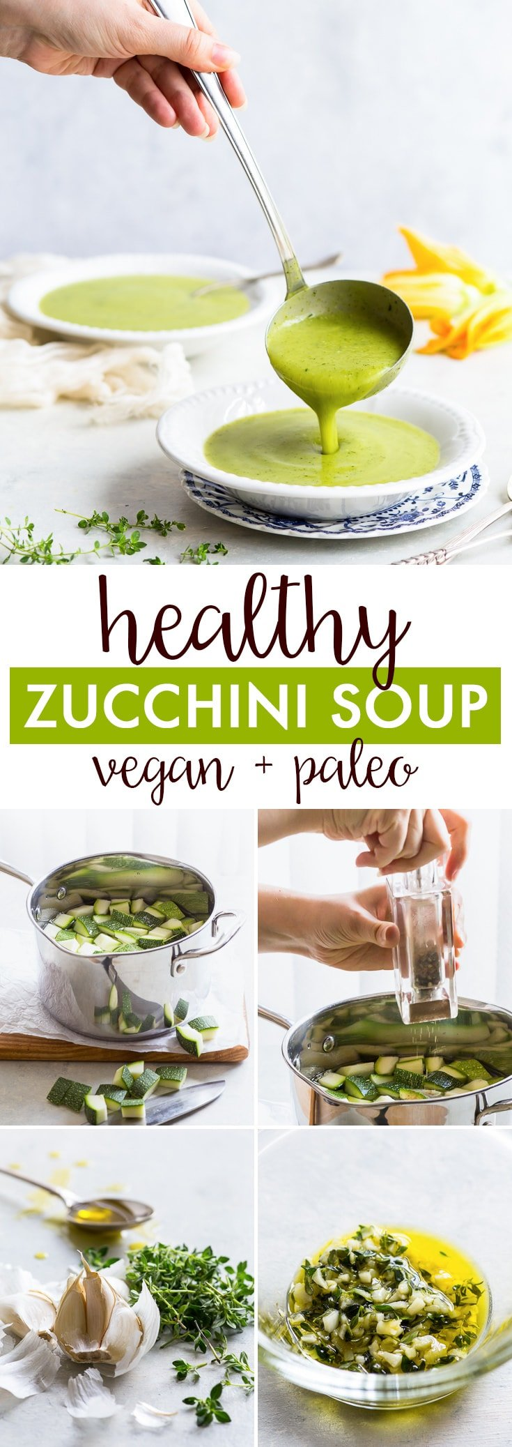 Healthy Cream of Zucchini Soup (Vegan + Paleo, Gluten + Dairy Free) - This delicious cream of zucchini soup is is healthy, super easy to make and the perfect quick summer lunch! And while this soup is both vegan and paleo, don't let that fool you – this healthy zucchini soup is filling and immensely satisfying. Zucchini recipes. Courgette recipes. Healthy soup. Healthy lunch ideas. Easy soup recipes. Vegan lunch ideas. Paleo lunch ideas. Vegan soup. #vegan #paleo #healthyrecipes #zucchini