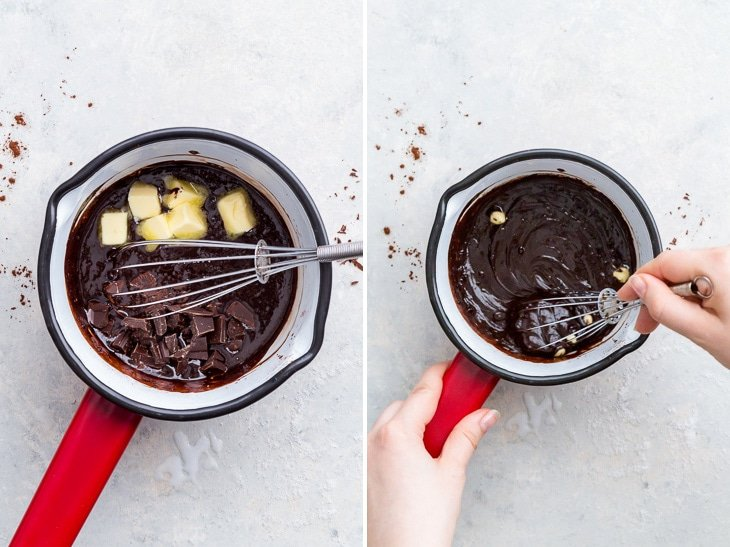 Making the chocolate fudge filling: adding the butter and the rest of the chopped chocolate, and allowing them to melt while stirring.
