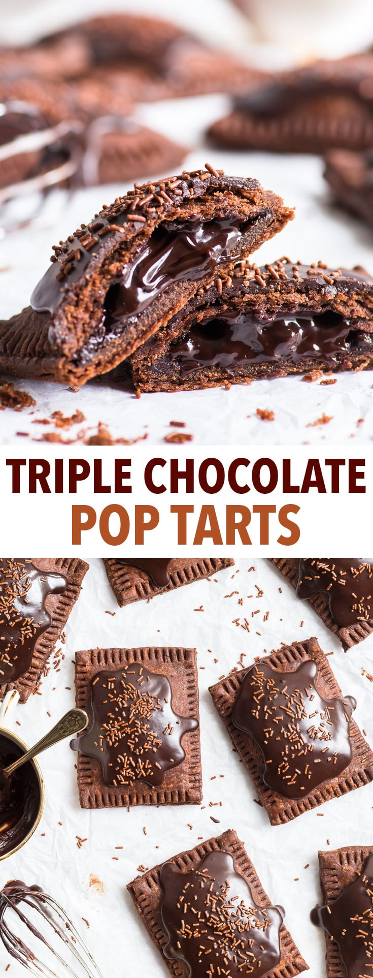 Triple Chocolate Pop Tarts (Gluten Free) - Imagine the most chocolatey dessert you can… and then multiply it by a hundred. What you get is these triple chocolate gluten free pop tarts. With a delicious chocolate gluten free pie dough, a chocolate fudge centre and a chocolate frosting. Gluten free pie crust recipe. Chocolate dessert recipe. Gluten free desserts. Gluten free recipes. Homemade pop tarts. Pop tart flavours. #poptart #poptarts #glutenfree #chocolate #dessert #recipe