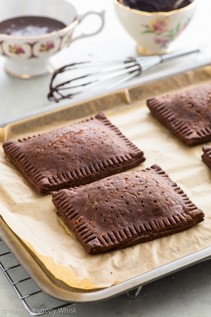 Making triple chocolate pop tarts: the pop tarts after baking.