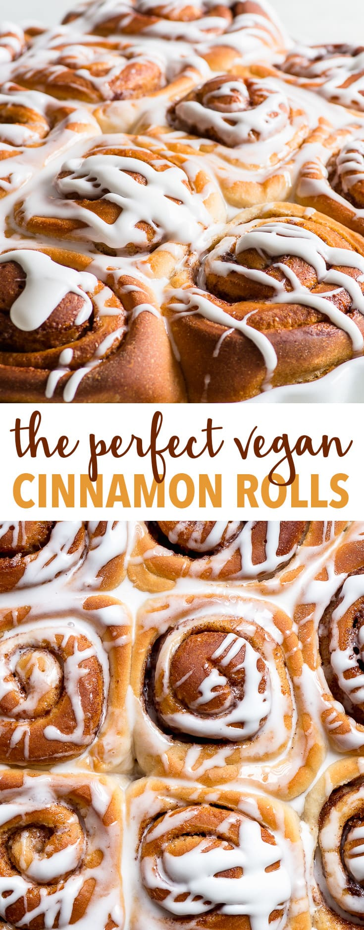 The Perfect Easy Vegan Cinnamon Rolls - The fluffiest, softest, most decadent vegan cinnamon rolls you'll ever taste. With only 8 ingredients, this recipe couldn't be simpler – and it's entirely plant based! Vegan comfort food at its best. Cinnamon rolls recipe. Homemade cinnamon rolls. Vegan dessert recipes. Vegan baking ideas. Easy vegan recipes. Vegan food. Vegan breakfast recipes. Easy breakfast ideas. #vegan #cinnamonrolls #dessert #recipe