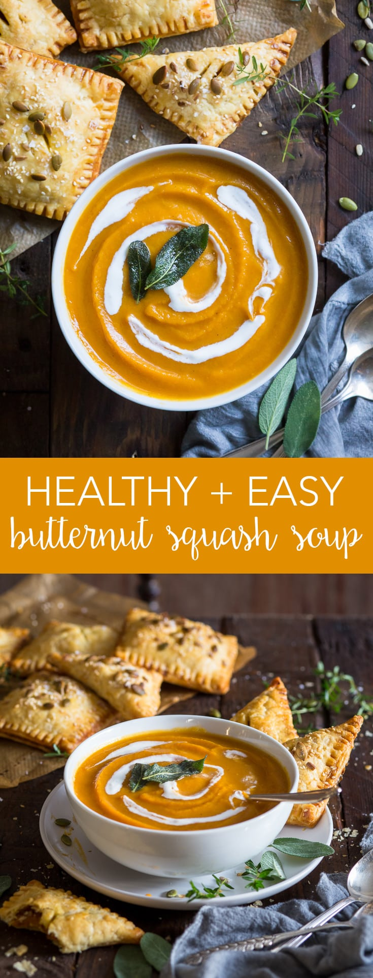 Roasted Butternut Squash Soup (Gluten Free, Dairy Free, Vegan, Paleo) - This healthy (and super creamy) roasted butternut squash soup couldn't be easier to make. With the addition of caramelised onions and a generous pinch of nutmeg, it's the perfect fall comfort food. Plus, it's dairy free, vegan and paleo! Pumpkin recipes. Pumpkin soup. Butternut squash recipes. Easy soup recipe. Healthy lunch ideas. Healthy soup. Vegan pumpkin soup. Thanksgiving recipes. #pumpkin #healthyrecipes
