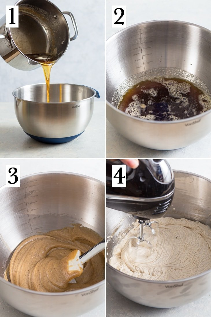 The flour-step process of making the brown butter frosting.