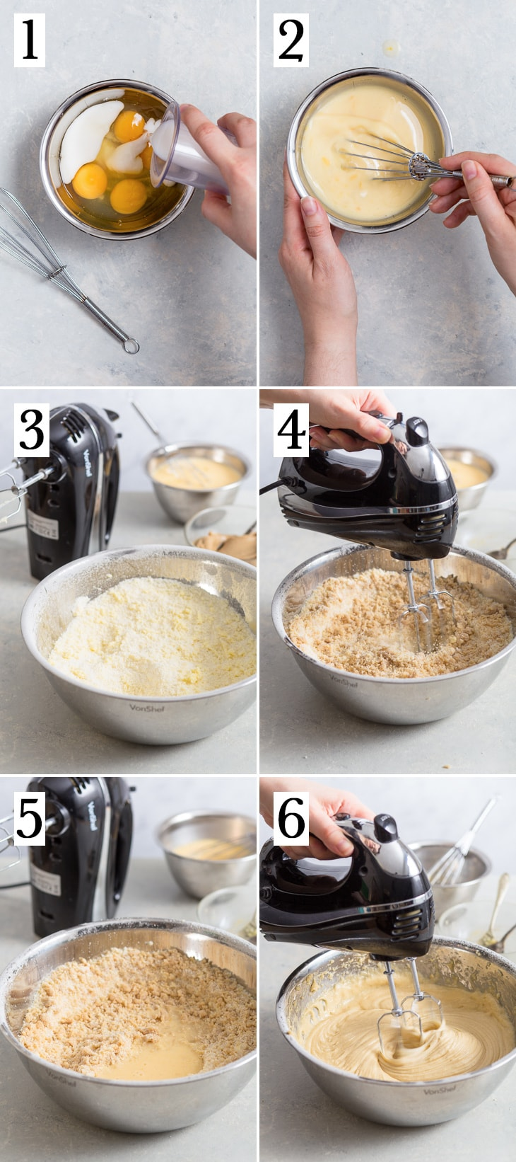 The six-step process of making the gluten free peanut butter sponge cakes.