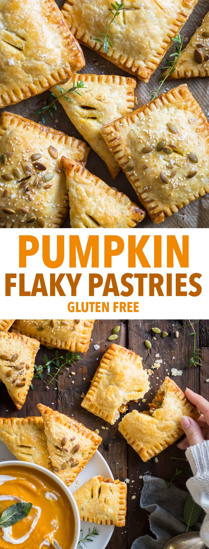 Pumpkin Flaky Pastries with Caramelised Onions and Cheddar (Gluten Free) - Gluten free pie crust so flaky it's almost puff pastry + a pumpkin (or butternut squash) filling supercharged with flavour… these pumpkin flaky pastries are the perfect fall comfort food. Pumpkin recipes. Pumpkin spice. Butternut squash recipes. Gluten free pie crust. Gluten free recipes. Healthy lunch ideas. Healthy lunch recipes. Meal prep. Pie recipes. Easy recipe ideas. #pumpkin #fall #glutenfree #pie #recipes #food