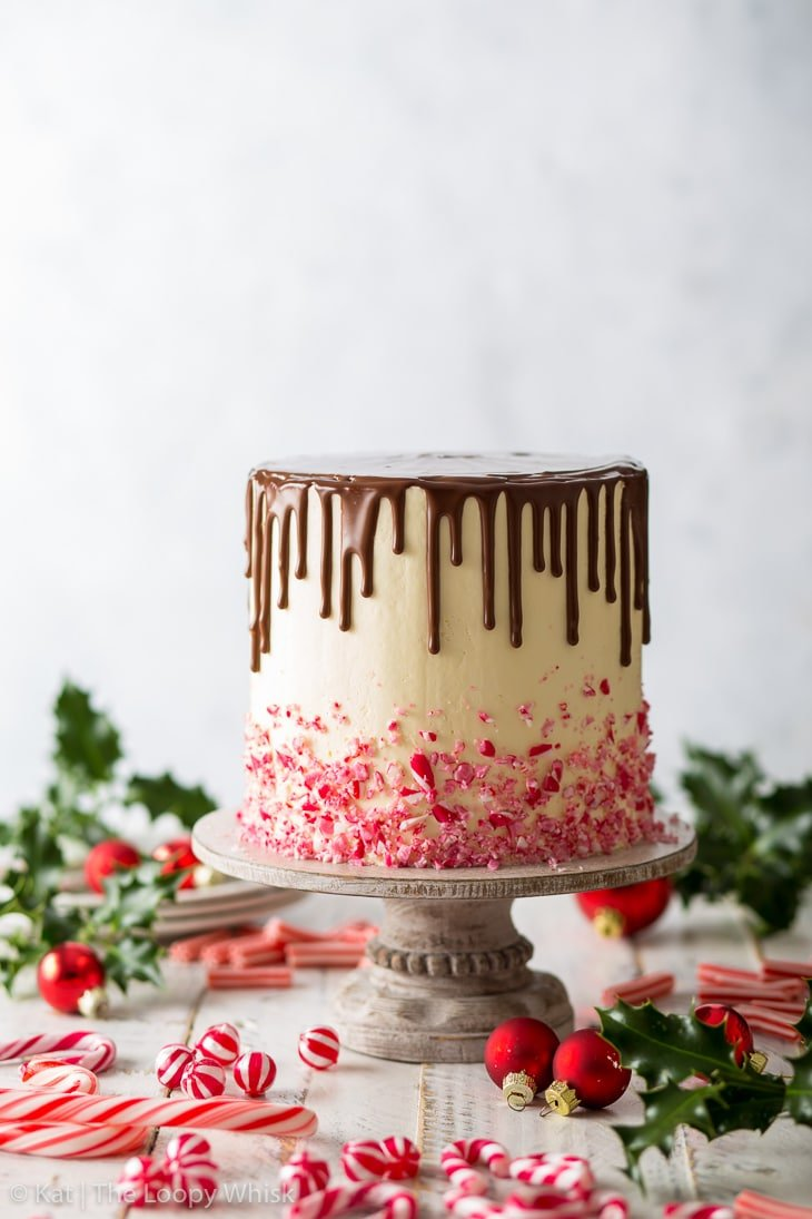 Candy cane cake before the decorations have been added on top – the beautiful chocolate drip has just been added.