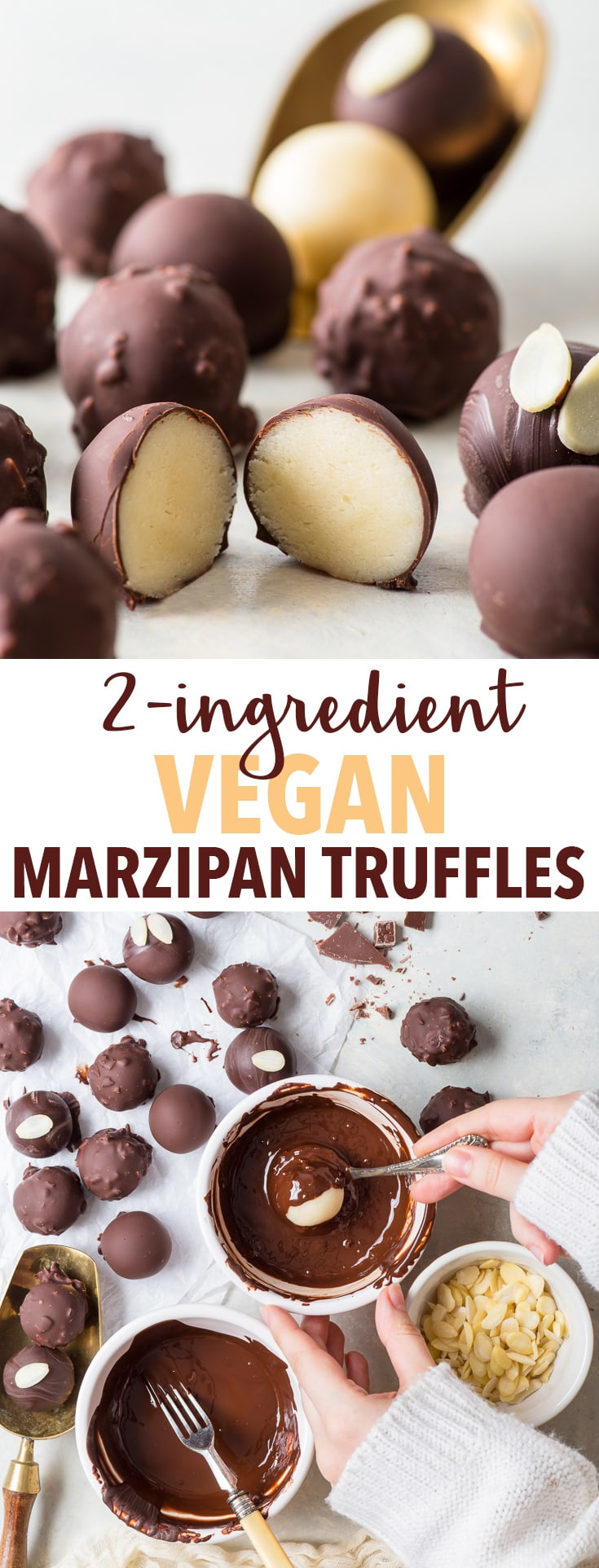2-Ingredient Vegan Marzipan Truffles (Gluten Free, Dairy Free, Vegan) - 5 minutes is all it takes to make these delicious vegan marzipan truffles. With only two ingredients, they couldn't be easier to prepare – but don't let the simplicity fool you. These bite-sized sweet treats pack a helluva flavour punch. Easy dessert recipes. Candy recipes. Quick dessert ideas. Vegan dessert recipes. Chocolate recipes. Chocolate truffle recipes. DIY gift ideas. #chocolate #marzipan