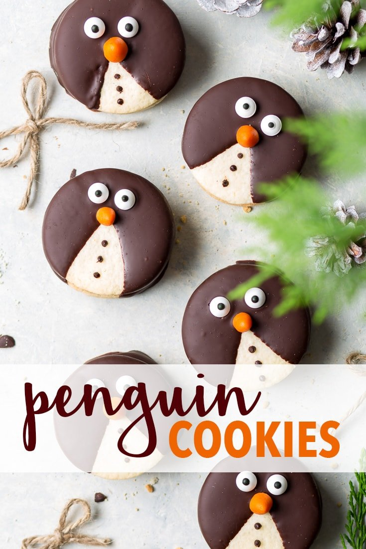 Adorable Penguin Christmas Cookies (Gluten Free) - On a cuteness scale from 1 to 10, these penguin Christmas cookies are… off the scale. With delicate vanilla sugar cookies, a decadent chocolate ganache filling and simple (yet effective) decorations, they are a fun holiday DIY project – that just so happens to taste AMAZING. Gluten free Christmas desserts. Gluten free cookies. Christmas dessert idea. Christmas recipes. Chocolate cookies. Gluten free sugar cookies. #christmasrecipes #cookies
