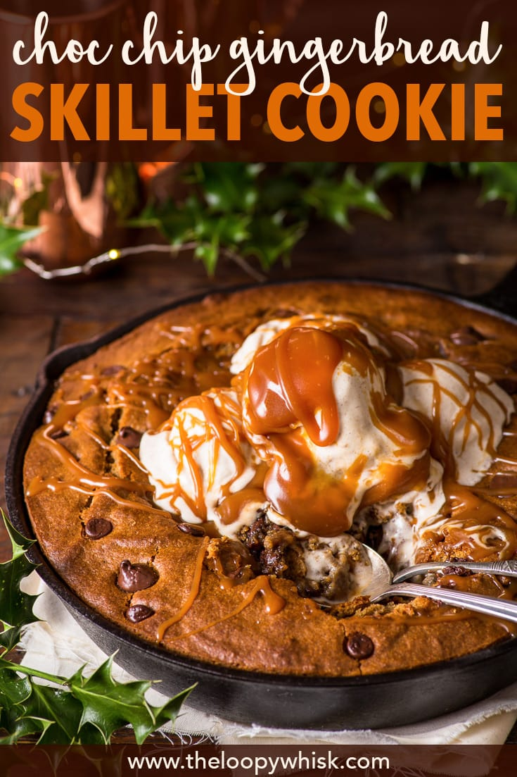 Chocolate Chip Gingerbread Skillet Cookie (Gluten Free) - This gingerbread skillet cookie is hands down, no questions asked, my all-time favourite Christmas dessert. It's slightly crisp and generously caramelised around the edges, and the middle is sheer gooey perfection. Christmas food. Christmas recipes. Chocolate chip skillet cookie. Christmas desserts. Christmas baking ideas. Christmas cookies. #skilletcookie #gingerbread #christmas