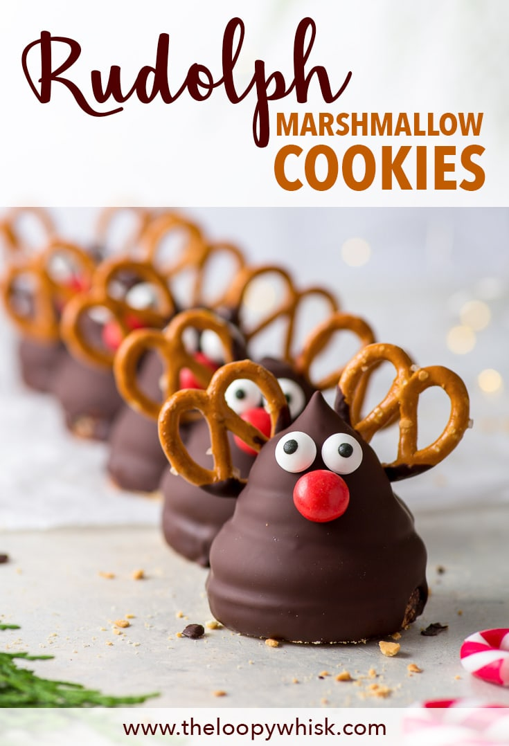 Rudolph Marshmallow Cookies (Gluten Free) - These Rudolph marshmallow cookies are one of the cutest Christmas desserts ever – and they're simple to make! Plus, with the homemade marshmallow piped onto delicate vanilla sugar cookies that's then dipped into chocolate – they're absolutely delicious. Christmas cookies. Christmas dessert recipe. DIY Christmas gift ideas. Gluten free cookies. Easy cookies recipe. Holiday baking. Gluten free dessert. #christmas #cookies