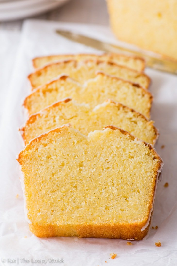 Individual slices of the lemon drizzle cake in a neat row.