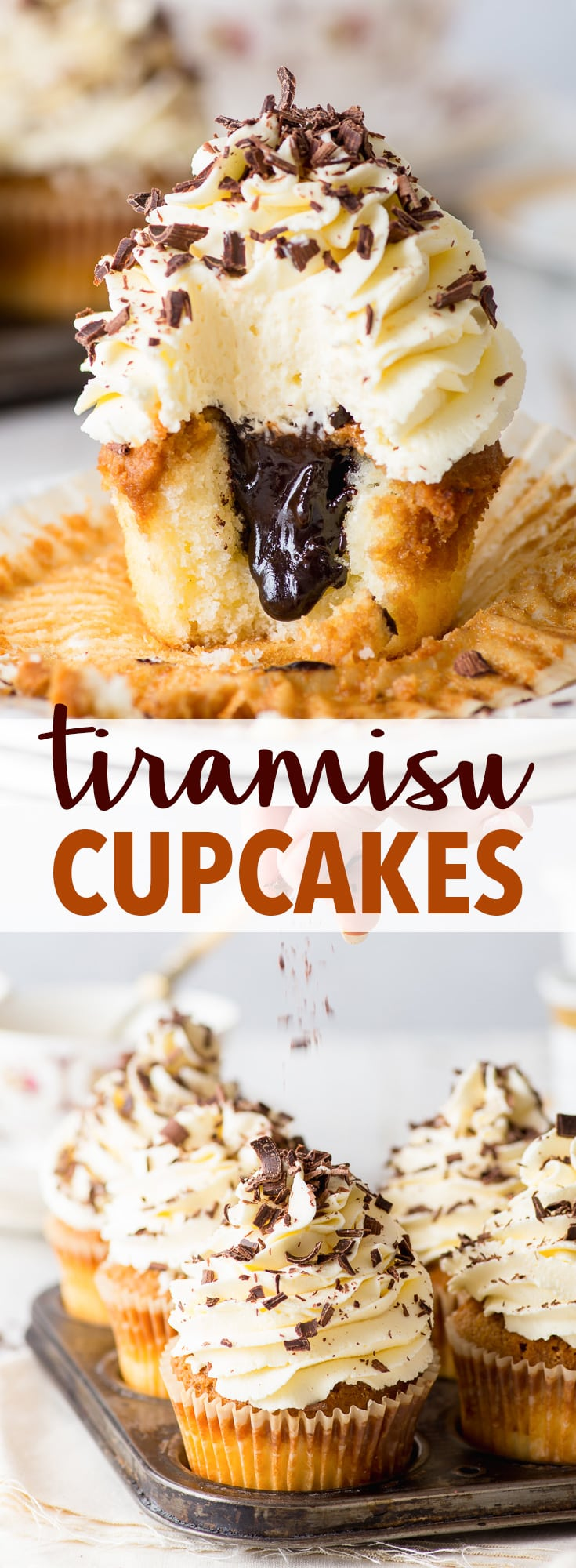 Tiramisu Cupcakes (Gluten Free) - These tiramisu cupcakes are a wonderful twist on that beloved classic Italian dessert. With fluffy vanilla cupcakes soaked in coffee, a rich mascarpone cheese frosting and a chocolate fudge centre – these cupcakes mean business. Gluten free cupcakes recipe. Coffee cupcakes. Mascarpone buttercream frosting. Gluten free tiramisu. Easy cupcake recipe. Coffee desserts. Gluten free desserts. Chocolate fudge sauce. #tiramisu #cupcakes