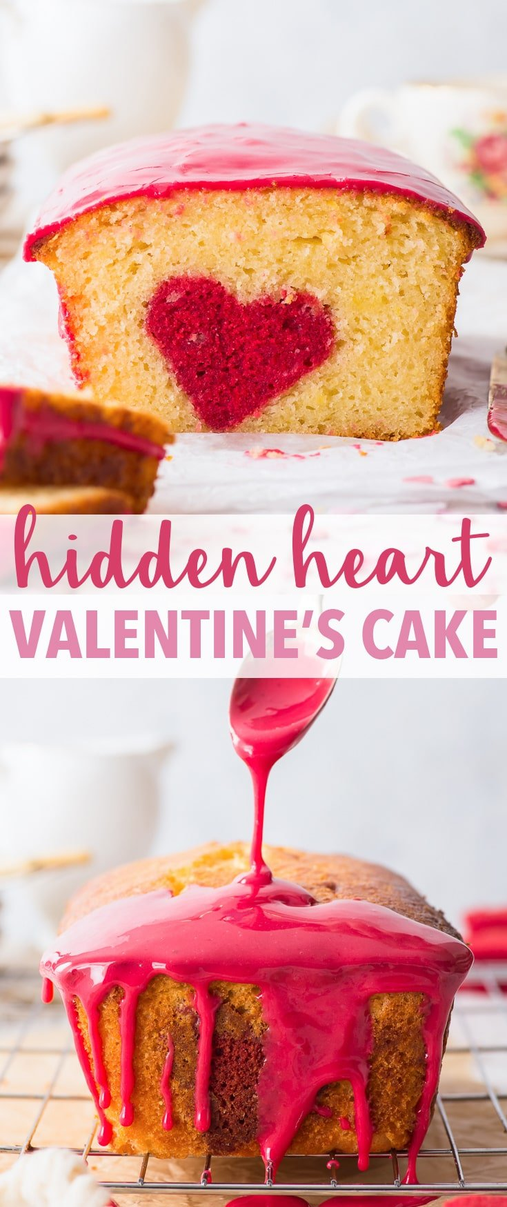 "Hidden Heart Valentine's Cake (Gluten Free) - Simple to make and guaranteed to impress – this ""hidden heart"" Valentine's cake should be at the top of your Valentine's Day desserts list. A gorgeous, delicate lemon sponge meets a raspberry flavoured hidden design, and the pretty pink raspberry drizzle finishes off a truly wonderful (gluten free!) dessert. Valentine's desserts. Valentine's recipes. Heart cake. Loaf cake recipe. Gluten free cake recipe. Lemon cake. #valentinescake #glutenfree"