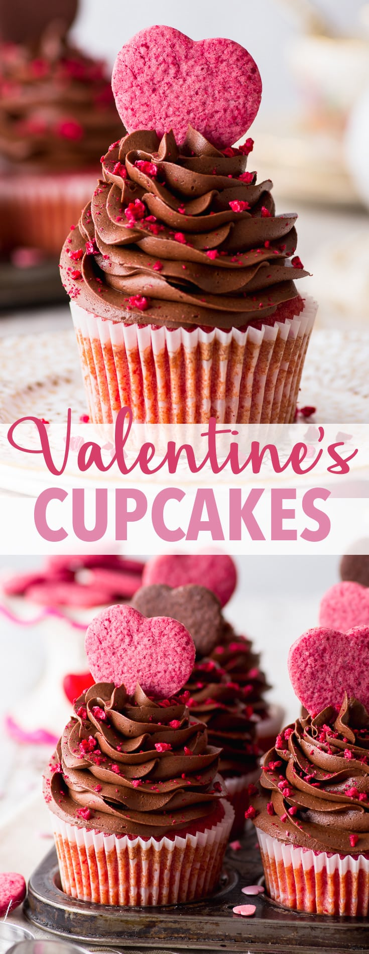 Raspberry & Chocolate Valentine's Cupcakes (Gluten Free) - Beautiful, delicious and full of heart – these raspberry & chocolate Valentine's cupcakes are the perfect way to share your love. With moist raspberry cupcakes, a raspberry jam centre, and topped with a luxurious chocolate buttercream frosting. Plus, they're easy to make! Chocolate cupcakes recipe. Valentines Day desserts. Valentines Day recipes. Gluten free desserts. Gluten free cupcakes. #valentinesday #cupcakes