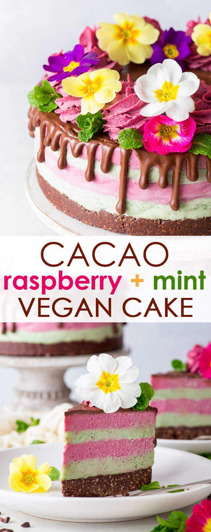 Cacao, Raspberry & Mint Vegan Cake (Gluten Free, Dairy Free, Vegan, Paleo) - [SPONSORED] It's impossible not to love this beautiful vegan cake, with its delicious flavours and textures. From the creaminess of the mint & raspberry layers, to the crunchiness of the cacao almond crust, this vegan dessert tastes just as good as it looks. Raw vegan dessert recipes. Paleo desserts. Healthy cake recipes. No bake cake. Raw vegan cheesecake. Healthy food. Healthy dessert. Healthy recipes. #vegan #cake