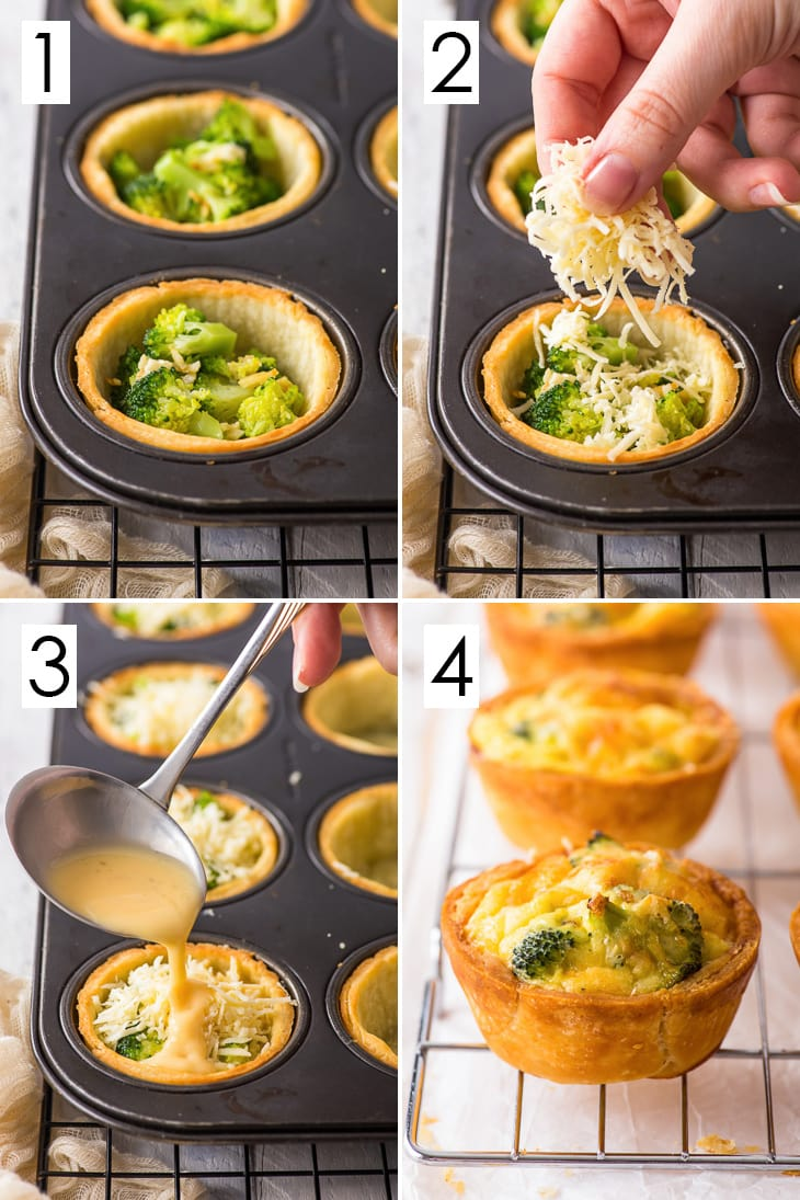 Four step process for making broccoli mini quiches.