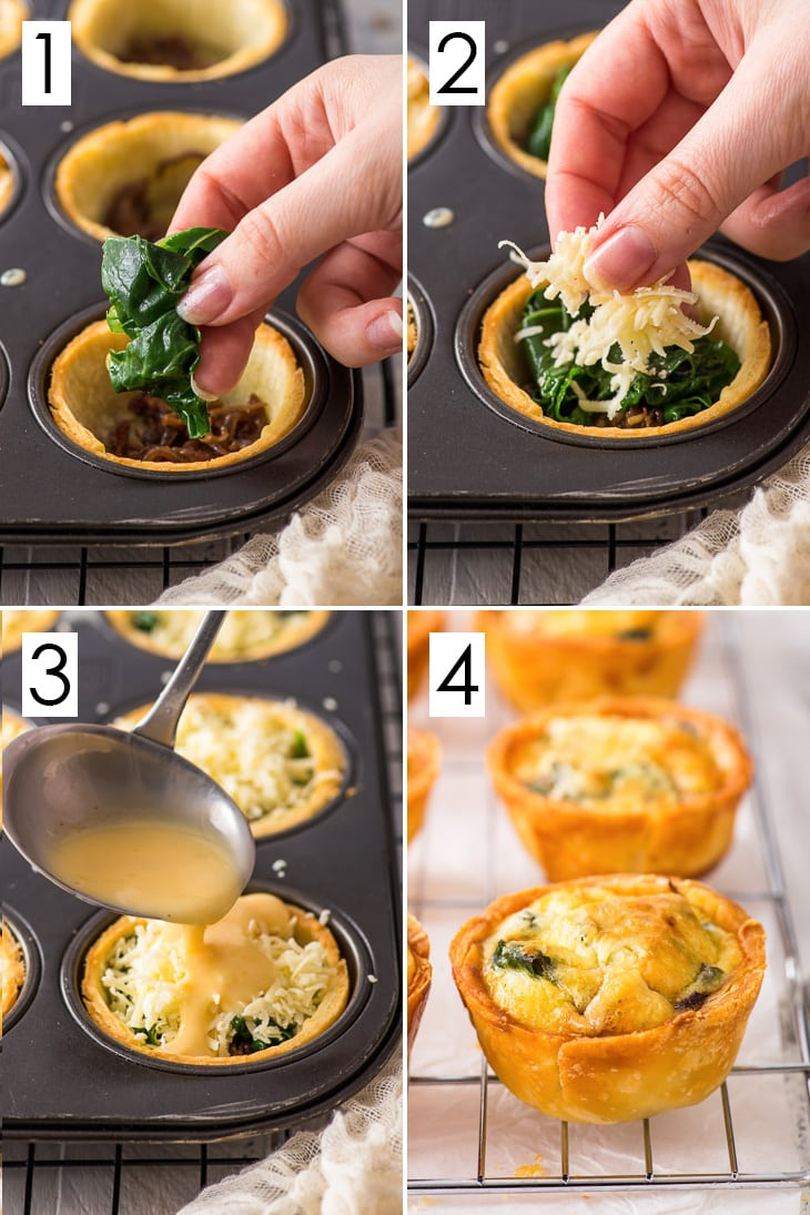 Four step process for making spinach mini quiches.