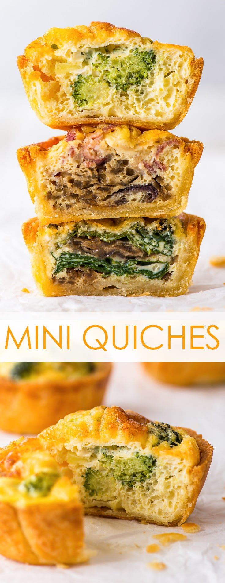 Easy Mini Quiches Recipe 3 Ways (Gluten Free) - These mini quiches are easy to make, incredibly convenient to have on hand as a quick snack or lunch, and simply to die for. With a buttery, flaky (gluten free) pie crust and a delicious selection of 3 fillings – each one better than the other! Healthy lunch recipes. Quiche recipes. Vegetarian quiche. Gluten free pie crust. Gluten free quiche. Gluten free lunch. Healthy snack ideas. Meal prep ideas. Meal prep recipes. #quiche #glutenfree