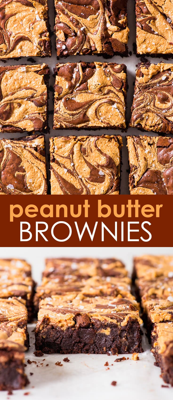 Fudgy Peanut Butter Swirl Brownies (Gluten Free) - There are few things better than these peanut butter swirl brownies. They're perfectly fudgy, and the peanut butter swirl (aside from being drop dead gorgeous) pairs perfectly with the chocolatey bittersweetness of the brownies. Gluten free brownies. Chocolate brownies recipe. Easy brownies. Peanut butter brownies. Chocolate desserts. Easy desserts. Gluten free dessert. Peanut butter recipes. Easy baking recipes. #peanutbutter #brownies