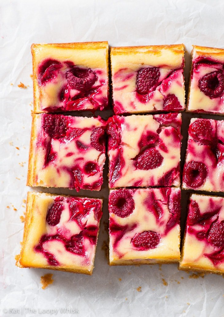 Overhead shot of raspberry cheesecake bars.