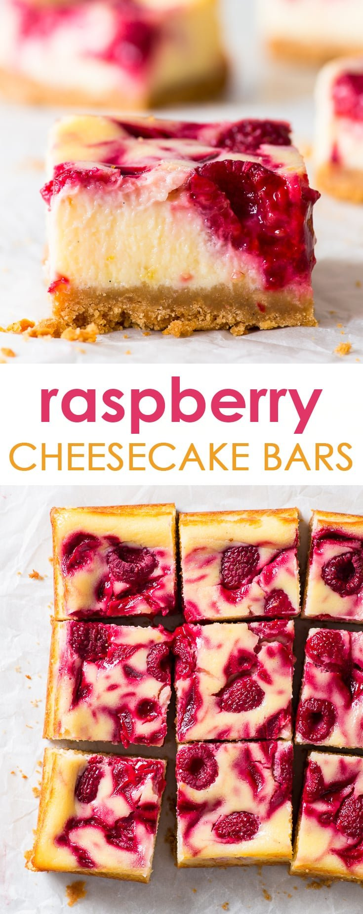 Small Batch Raspberry Cheesecake Bars - You will love these raspberry cheesecake bars, with their crumbly crust and the creamy, luscious filling. The lemon zest and abundance of raspberries give the bars a wonderful freshness, and balance out the sweetness perfectly. Plus, they are super easy to make! Gluten free cheesecake. Cheesecake recipes. Lemon cheesecake. Raspberry dessert. Raspberry recipes. Dessert recipes. Dessert ideas. #cheesecake #dessert