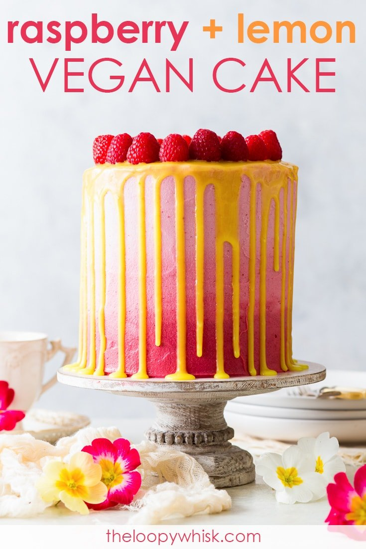 Vegan Raspberry & Lemon Cake [SPONSORED] - This vegan raspberry & lemon cake is as pretty as it is delicious. With fluffy, moist vegan sponges generously scented with lemon zest, a luscious vegan frosting, a refreshing vegan lemon curd and an abundance of fresh raspberries, it's everything you might want a cake to be – and more. Vegan cake recipe. Vegan desserts. Dairy free cake. Vegan baking. Cake decorating. Cake ideas. Vegan frosting. Vegan buttercream. Vegan lemon curd. #vegan #cake