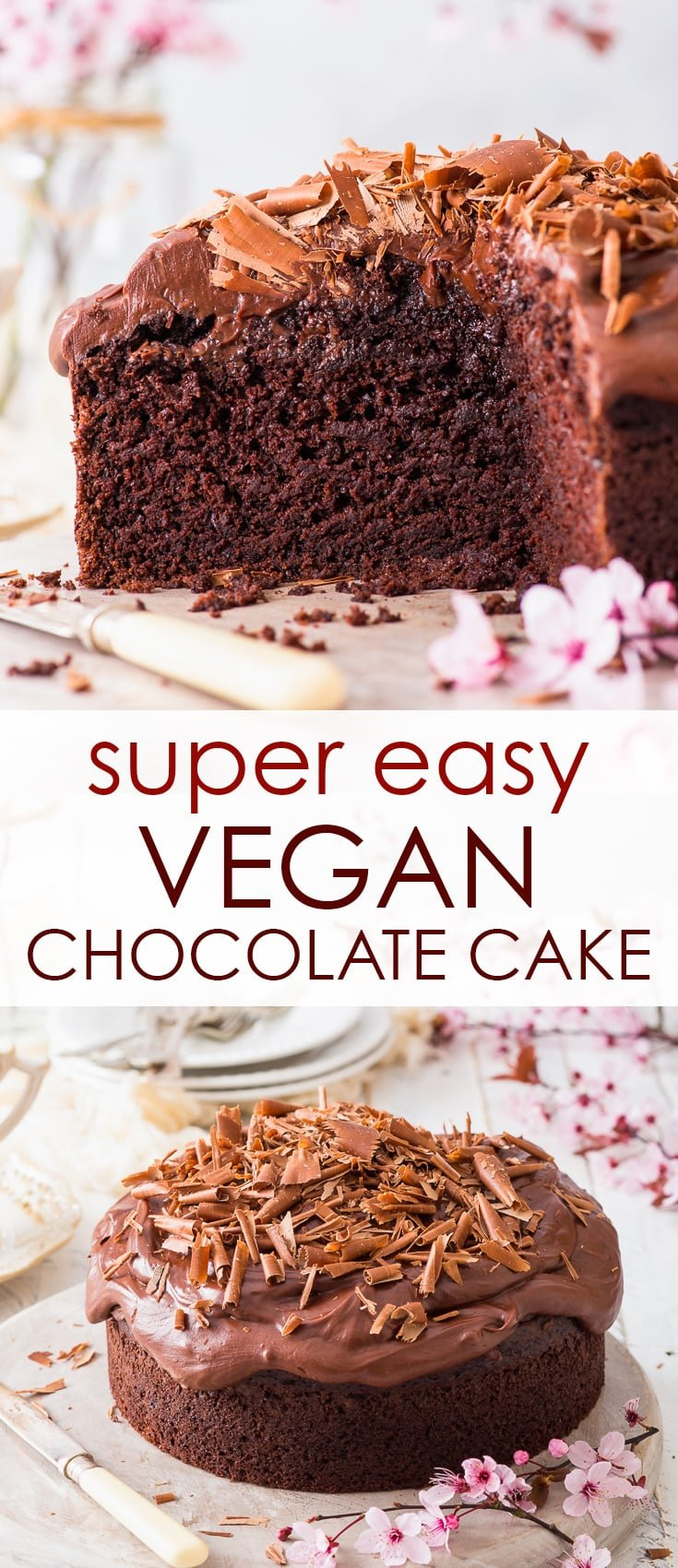 Super Easy Vegan Chocolate Cake - Intensely chocolatey, perfectly moist, super pretty and dead easy to make – this vegan chocolate cake is EVERYTHING a chocolate cake should be, and more. With no egg replacements and no fancy ingredients or equipment needed – this is the vegan dessert recipe you need to make. Chocolate cake recipe. Dairy free cake. Vegan cake. Vegan recipes. Easy cake recipe. Vegan chocolate ganache. Vegan frosting recipe. #cake #vegan