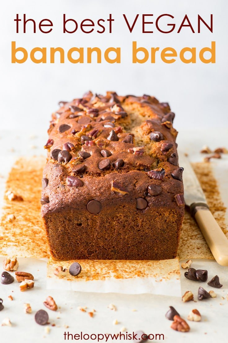 The Best Vegan Banana Bread - The perfect vegan banana bread, with no egg replacements. With perfectly caramelised edges, a soft, moist interior, and chock full of chocolate chips and toasted pecans – it truly doesn't get much better than this. Vegan dessert recipe. Chocolate chip banana bread recipe. Easy banana bread. Vegan recipes. Plant based recipes. Dairy free desserts. Vegan breakfast. Vegan baking. #vegan #banana bread