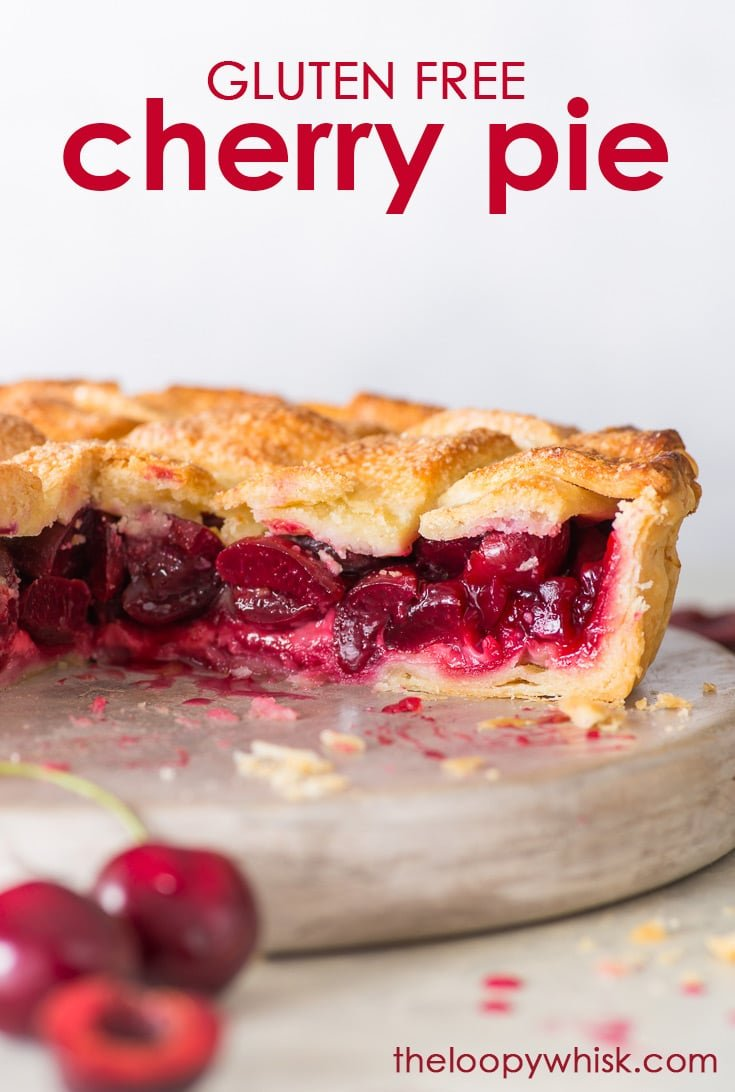 The Best Cherry Pie (Gluten Free) - Easy to make, with a flaky pie crust and a juicy cherry filling – this cherry pie ticks all the boxes. It's the perfect summer dessert that makes the most of the cherry season, and it's absolutely divine served warm with a scoop of vanilla ice cream! Gluten free pie. Gluten free recipes. Gluten free dessert. Easy pie recipes. Summer dessert ideas. Pie filling. #cherrypie #glutenfree