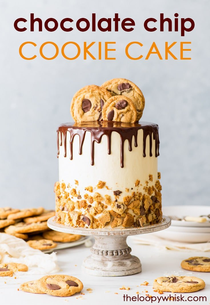 Chocolate Chip Cookie Cake (Gluten Free) - [SPONSORED] A dessert that doesn't make you choose between cake and cookies – this chocolate chip cookie cake is a dream come true. With delicate chocolate chip sponges, fluffy Swiss meringue buttercream frosting, a chocolate ganache drip and an overabundance of chocolate chip cookies, there's nothing not to love about this cake. Gluten free cake. Cookie cake. Easy cake recipe. Gluten free dessert. Cake decorating. #cookiecake #chocolatechipcookies