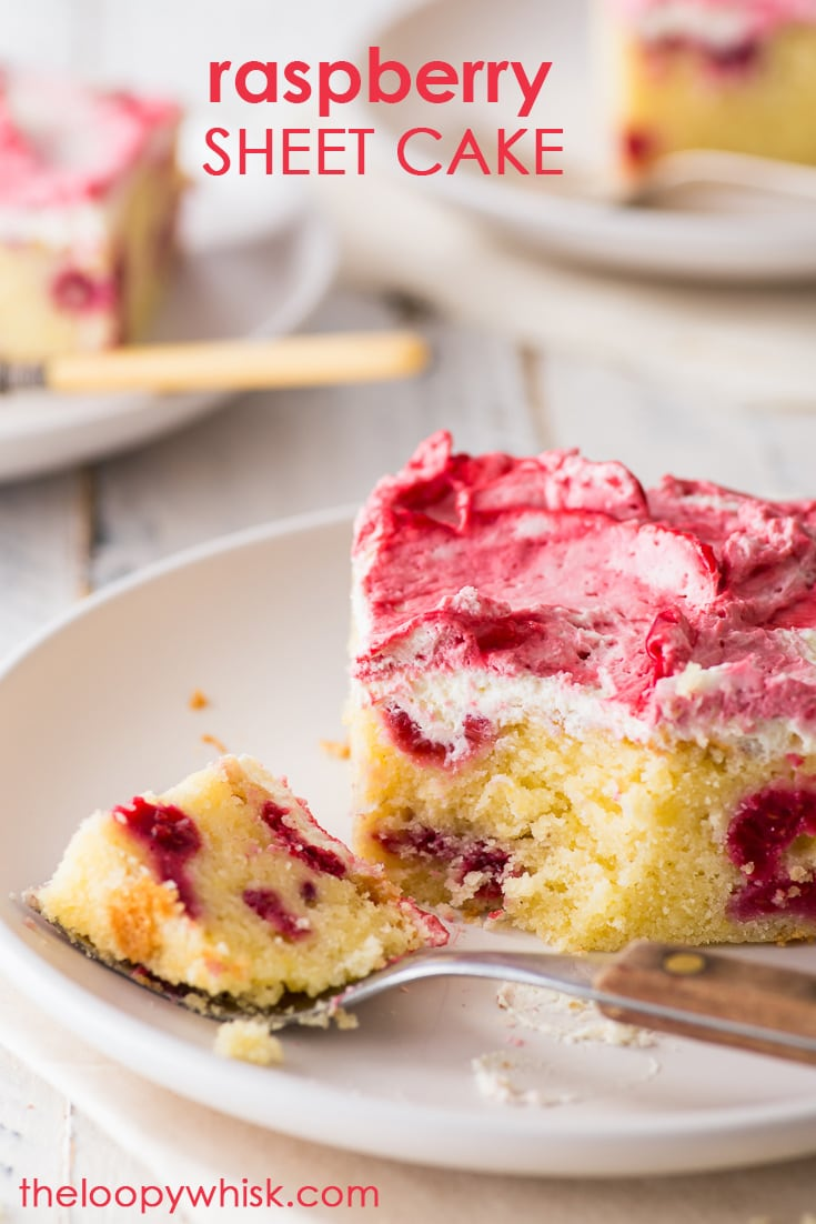 Raspberry Sheet Cake (Gluten Free) - This raspberry sheet cake is equal parts delicious and easy to make. With a rich, melt-in-your-mouth sponge dotted with raspberries and a pretty raspberry swirled mascarpone frosting, it's a joy to make and eat. Easy cake recipes. Sheet pan recipes. Raspberry cake recipes. Gluten free cake. Gluten free recipes. Gluten free baking. #sheetcake #raspberrycake